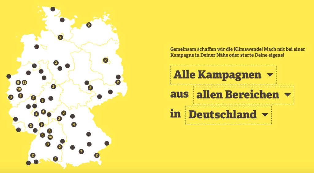 Klimawende von unten – eine Anleitung, Deutschlandkarte mit Kampagnen für die Klimawende