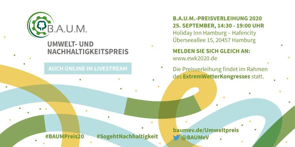 Umwelt- und Nachhaltigkeitspreis, B.A.U.M. , Livestream, Nachhaltigkeit, 25.09.2020, Umwelt, ExtremWetterKongress, Tina Teucher