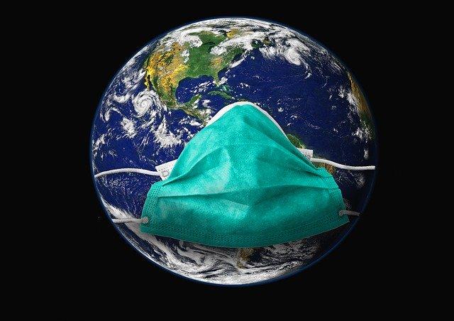Weltkugel Erde Mund-Nasen-Schutz-Maske krank Corona-Pandemie Covid-19 Nachhaltigkeit Folgen nachhaltige Initiativen