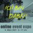 Online Event Expo 9. März 2021, 9-17 Uhr, Schrift: Ich Bin Dabei!